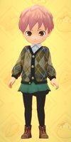 チェックセーター&スカート(緑)牧場物語オリーブ