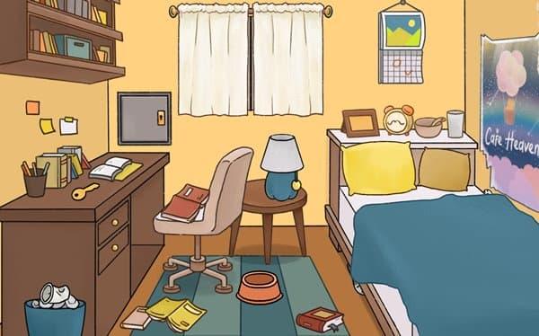 散らかった部屋にゃん探偵ミオ